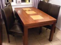 DINING TABLE AND SIX CHAIRS . EXCELLENT CONDITION . BARGAIN PRICE !