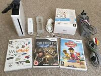 Nintendo Wii Console + Controller + Nunchuck + 3 Games + All Leads & Cables