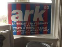 Large Poster from the Leeds ark club nights! 90s Leeds House/Dance/Rave Memorabilia