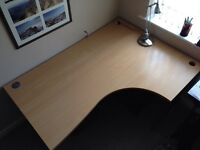 Curved cantilever 160x117cm excellent condition right hand corner office desk