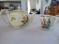 Crown Staffordshire vintage china teapot, milk jug and 2 tea plates