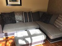 Corner sofa, armchair and foot stool