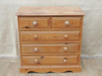 Welsh Pine strong chest of 5 drawers (Delivery)