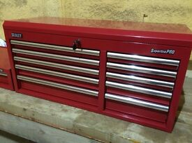 Sealey Topchest 10 Drawer with Ball Bearing Runners Heavy-Duty - Red Unused.