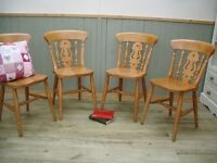 Four Pine Fiddle Back Chairs.