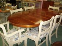 REPRODUCTION YEW EXTENDING TABLE ON TWO PEDESTALS WITH CLAW FEET ANNIE SLOAN OLD OCHRE