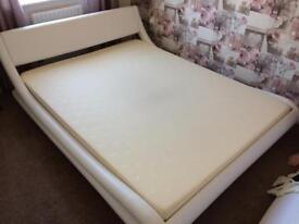 King size sleigh bed in white
