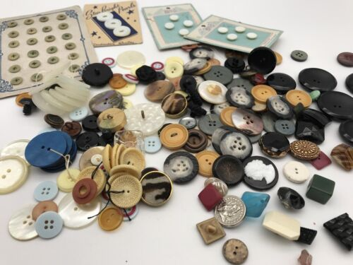 Lot of Antique Victorian Buttons Glass Jet Black Cameo Bakelite Pearl Celluloid