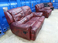 Great brown leather sofa with tilt back and leg support