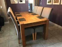6-8 SEATER SOLID OAK DINING TABLE & 6 CHAIRS