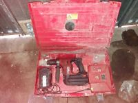 hilti te 6 cordless drill in case with charger and two batteries
