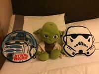 Star Wars Yoda soft toy and 2 x bed Cushions