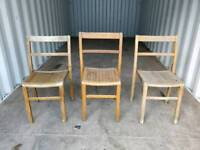 Set of Three Vintage Wooden Stacking Chairs by Kingfisher
