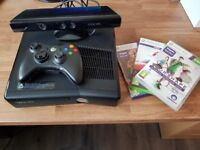 Xbox 360 250GB with kinect and 3 games