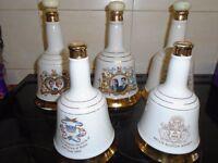 5 royal family comemerative bottles
