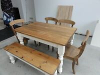 Dining table and 4 chairs with matching bench, £220, ono Matching welsh dresser £250 ono,