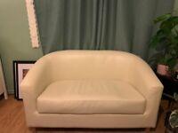 Cream Faux leather small 2-seater sofa