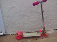 Kids pink 3 wheel scooter
