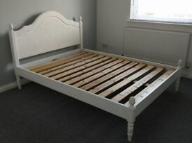 Solid wood white French / shabby chic style double bed frame £70