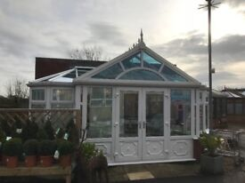 White glass roof showroom conservatory for sale 6.4m wide by 4.5 depth