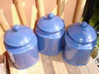 3 Large Blue Ceramic Storage Jars