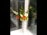 Artificial Flower Arangement in tall White Vase