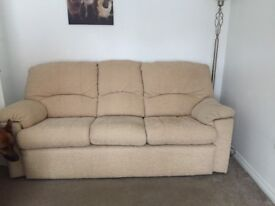 Sofa and 2 recliner chairs and storage box