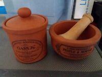 Henry watson pottery garlic pot and pestle set