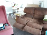 Faux Sude 2 seater 2recliner action + Rocker recliner chair