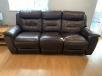 DFS Brown Leather Recliner Settees - 2 seater + 3 seater - Excellent Condition