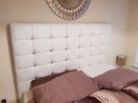 King size white diamonte white bed