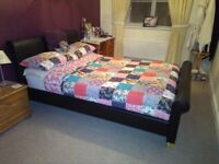 Double Bed, Varese Faux Dark Brown Leather & Mattress set (as new)