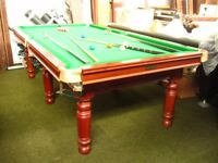 Half Size (8ft x 4ft play area) slate bed Pool or Snooker Table in restored condition