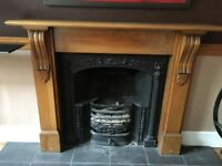 LARGE WOODEN FIRE SURROUND WITH CAST IRON IN SET AND GRITE
