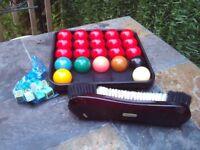 Set of snooker balls, brush and chalks