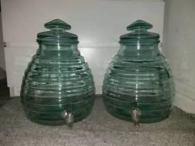 2x 11 litre glass drinking dispensers