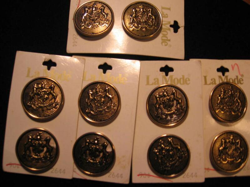 "lot of 10 Vintage La Mode Buttons  Crest of Arms w/ Deer 1-1/8"""