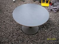 Circular tables with ornate solid steel bases £12 each