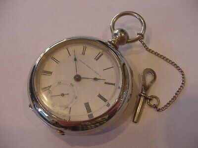 RARE 1875 ELGIN 17-size MODEL 1 KEY WIND SET T M Avery ANTIQUE WATCH 145 YRS OLD