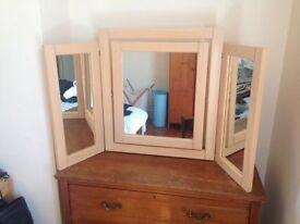 Large wooden dresser mirror
