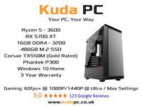 KUDA GAMING PC - Ryzen 3600 - 16GB DDR4 - RX 5700XT - 480GB SSD - WIN 10 - DESKTOP - 3 YEAR WARRANTY
