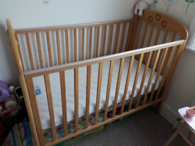 Wooden Cot and Mothercare Mattress