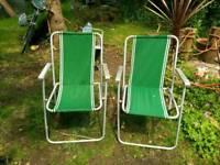Retro folding camping garden chairs