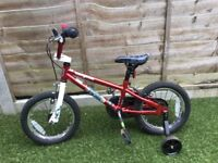 "Mongoose red BMX bike 14"" with stabilisers"