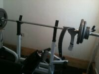 Pro MultiGym Weight Bench With Olympic Bars & Plates