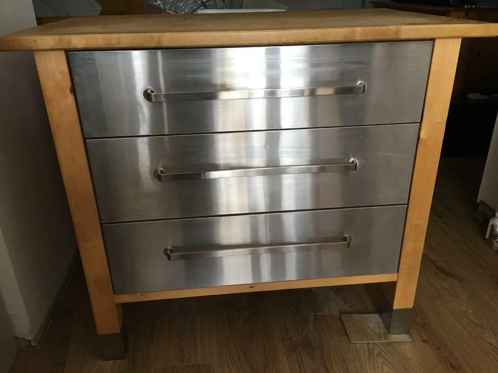 Freestanding Kitchen Drawer Unit Solid Wood Top Stainless ...