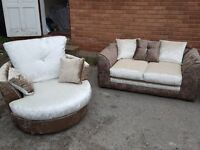 Fabulous Brand New brown/mink crushed velvet sofa suite.Cuddle swivel chair & 2 seater.can deliver
