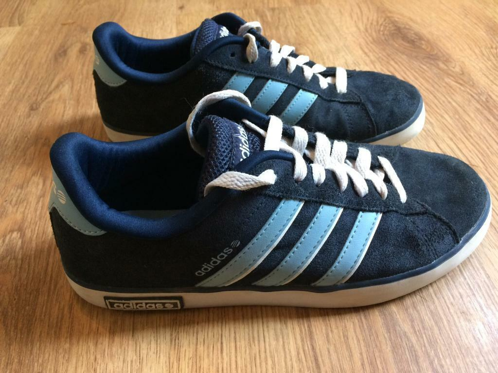 420cb9763d1 will post. mens boys genuine adidas neo trainers. blue suede. size uk 6