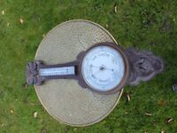 Large 1930's Hardwood engraved Barometer 80 cm high
