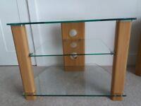 Corner Glass/Teak TV Stand
